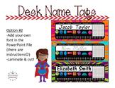 Name Tags {Chalkboard Super Hero Theme} EDITABLE