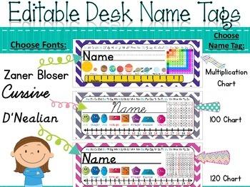 Editable D'Nealian Name Tags {Chevron Polka Dot Classroom Decor}