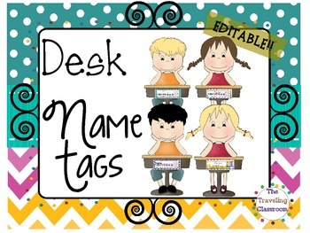 Editable D'Nealian Name Tags {Chevron Polka Dot Classroom Decor}