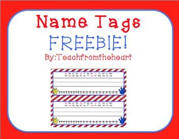 Name Tags Chevron Red FREEBIE!
