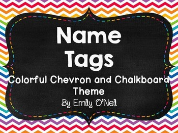 Name Tags (Colorful Chevron & Chalkboard Theme)