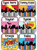 Superhero Labels Name Tags