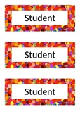 Name Tags - Desk Labels - Polka Dot - Red, Green, Blue, Purple, Yellow