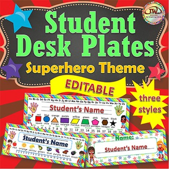 Name Tags Desk Plates EDITABLE Superhero Themed