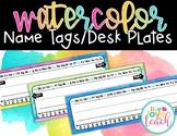 Name Tags/ Desk Plates - Ediatble Watercolor Brights