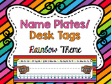 Name Tags/ Desk Plates - Editable Rainbow Theme