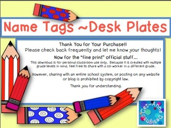 Name Tags ~ Desk Plates with Curriculum Resources