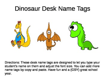 Name Tags Dinosaurs