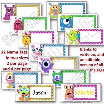 EDITABLE Name Tags and EDITABLE Labels - Monster Themed