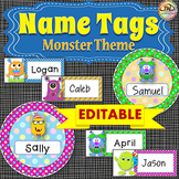 EDITABLE Labels and EDITABLE Name Tags - Monster Themed