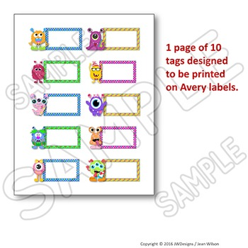 Editable Labels - MONSTER Themed Editable Name Tags - Multipurpose and Fun!