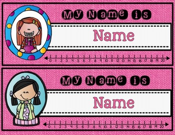 Name Tags {EDITABLE with Melonheadz design, Burlap background and number line}