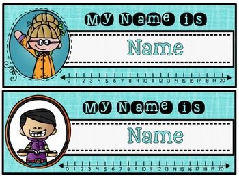 Name Tags {EDITABLE with Melonheadz design and number line}