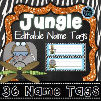 Editable Name Tags Jungle Theme