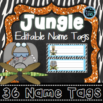 Editable Desk Tags Jungle Theme