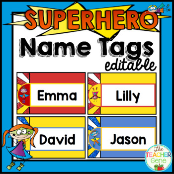 Super Hero Name Tags Editable