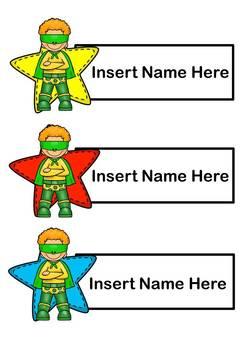 Name Tags - Editable (Superhero)