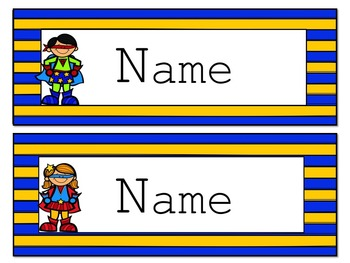 Superhero Editable Name Tags