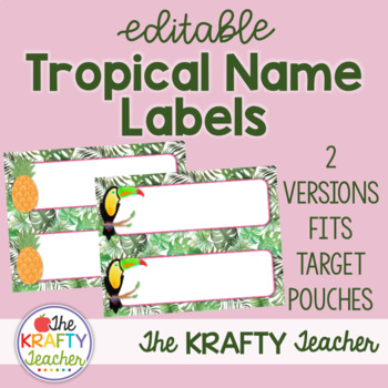 Name Tags Editable - Tropical fits Target Adhesive Labels
