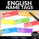 English Name Tags - Hello My name is