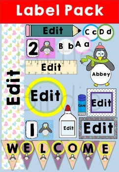 Labels - Name Tags, Desk Tags: Penguin