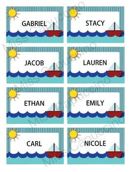 Name Tags Labels - Boat Sea Theme