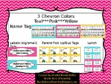 Name Tags & Labels Chevron- Teal, Pink, & Yellow