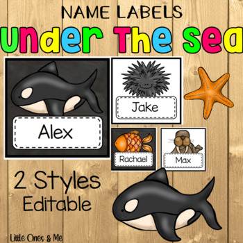 Name Tags Labels Editable Ocean Under The Sea
