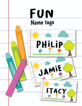 Name Tags Labels - Fun Theme