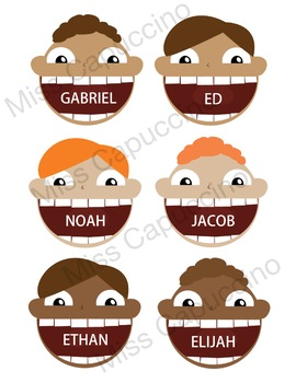 Name Tags Labels - Funny Faces Theme