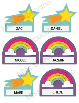Name Tags Labels - Rainbow and Starts Theme