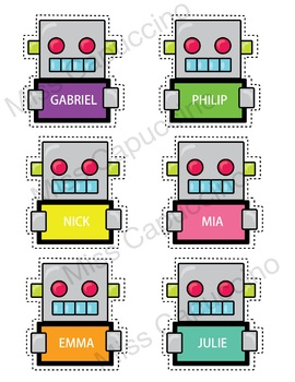 Name Tags Labels - Robot Theme