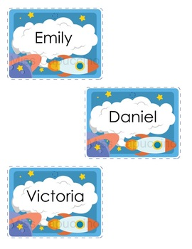 Name Tags Labels - Space / Astronaut Theme