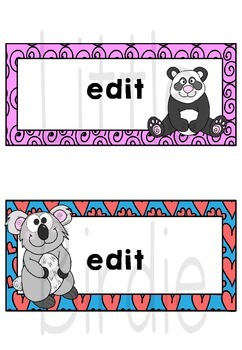 Labels - Name Tags, Desk Tags: Jungle & Zoo Theme