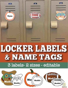 Fall & Thanksgiving Name Tags & Locker Labels (Editable)