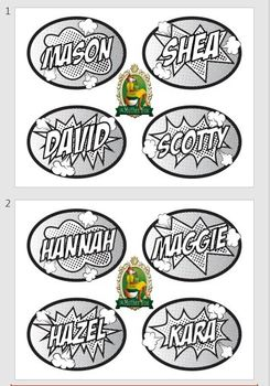 Name Tags - Locker Plates - Desk Assignment - Comic - Cartoon - Superhero