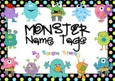 FREE & EDITABLE Name Tags- Monster and Neon Polka Dot Design