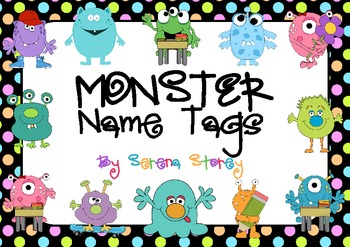 FREE EDITABLE Name Tags Monster And Neon Polka Dot Design TpT - Locker tag templates