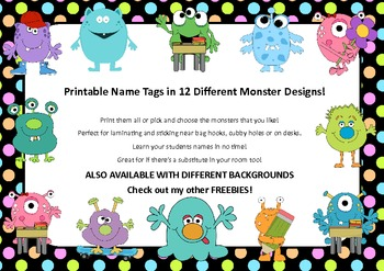 image about Name Tags Printable named Cost-free EDITABLE Status Tags- Monster and Neon Polka Dot Style