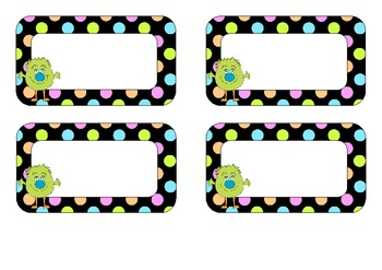 image relating to Printable Name Tags for Cubbies named Absolutely free EDITABLE Reputation Tags- Monster and Neon Polka Dot Design and style