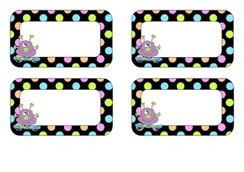 Free Editable Name Tags Monster And Neon Polka Dot Design