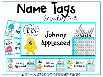 Name Tags - Monsters