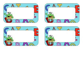 Name Tags- Monsters with letters in the background