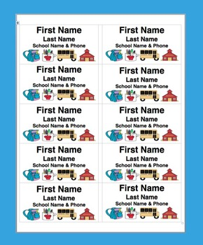 """Name Tags-Name Badges- Back To School or Field Trip-Use 2"""" x 4"""" Labels"""