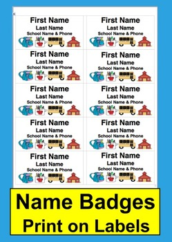 "Name Tags-Name Badges- Back To School or Field Trip-Use 2"" x 4"" Labels"