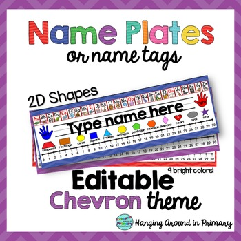 EDITABLE Name Tags / Name Plates  with 2D Shapes - Chevron