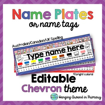 EDITABLE Name Tags / Name Plates - UK/Canadian Spelling - Chevron