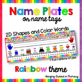 EDITABLE Name Tags / Name Plates with 2D Shapes - Rainbow  -