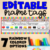 EDITABLE Name Tags / Name Plates - Rainbow