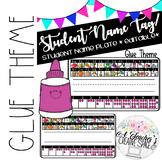 Name Tags/Name Plates for Pencil Box - Glue Theme *EDITABLE*